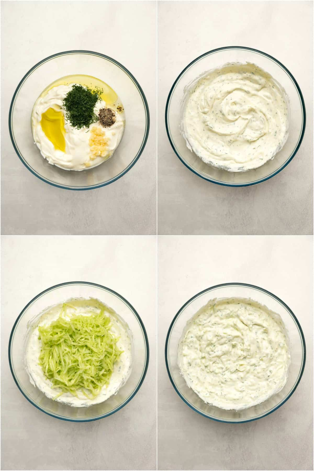 Step by step process photo collage of making tzatziki.