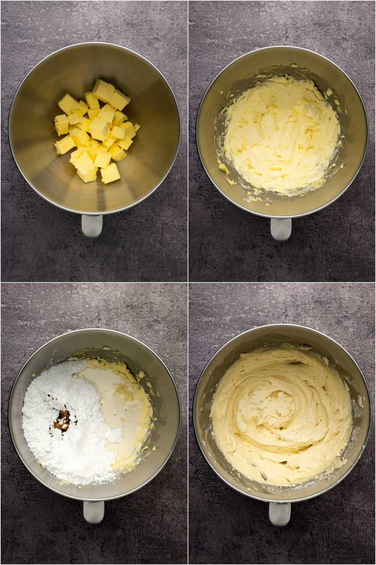 Step by step process collage of making a vanilla buttercream frosting.