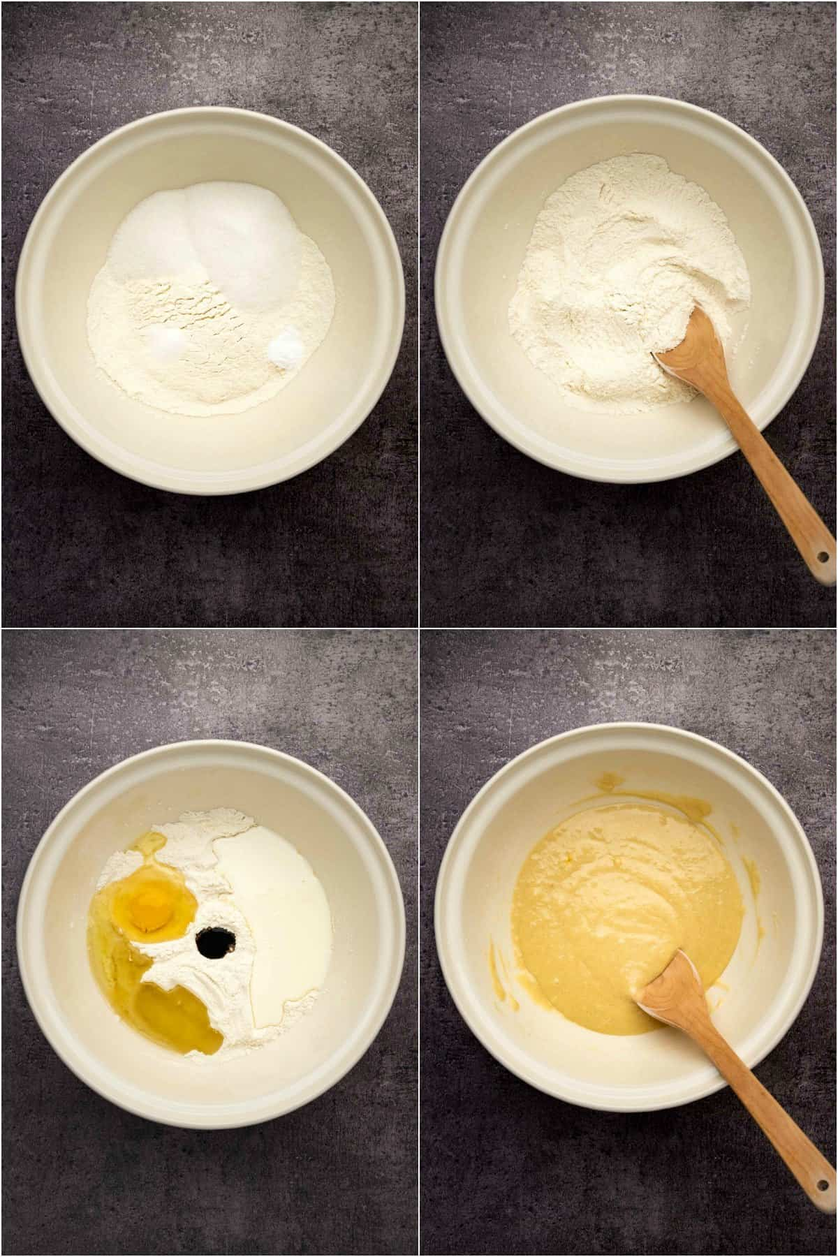 Step by step process photo collage of making the batter for vanilla cupcakes.
