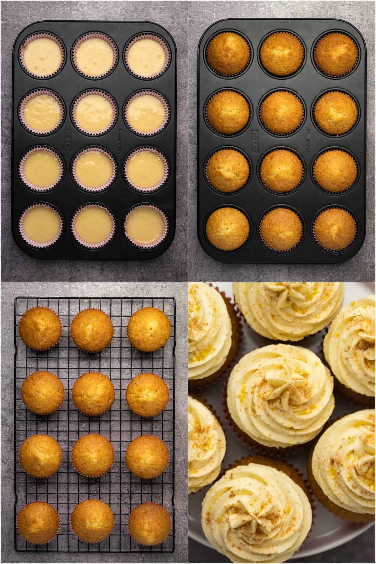 Step by step process photo collage of making vanilla cupcakes.