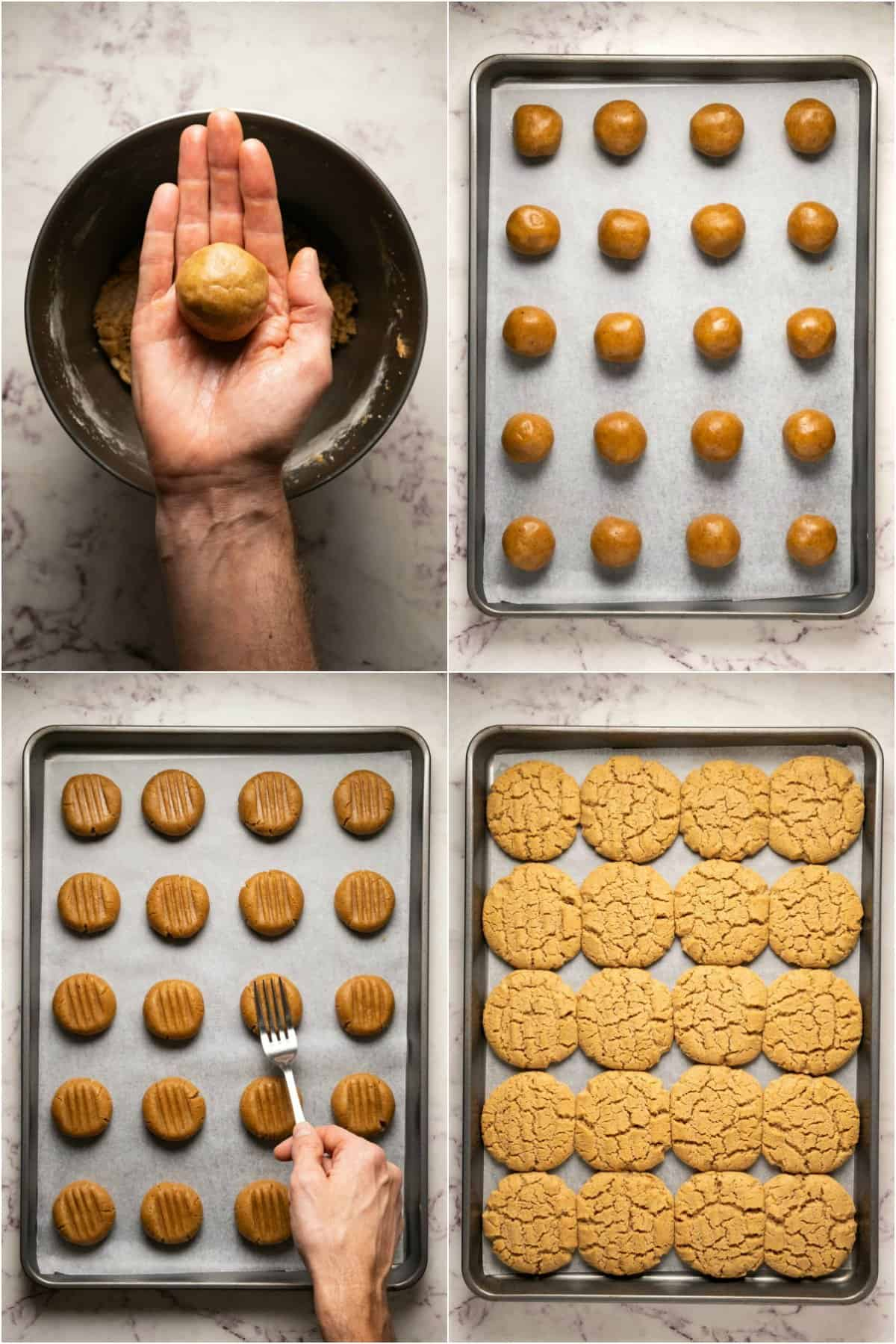 Step by step process photo collage of making almond butter cookies.