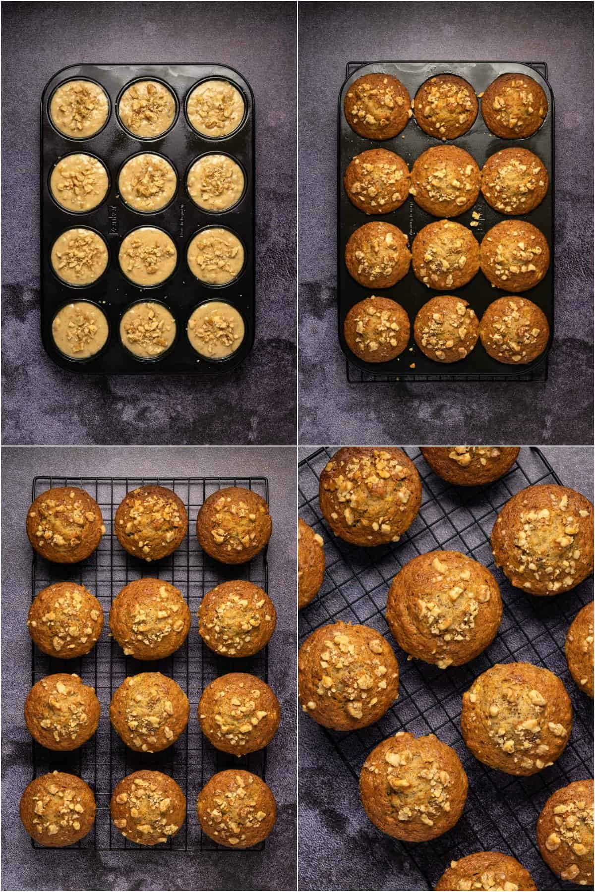 Step by step process photo collage of making banana muffins.