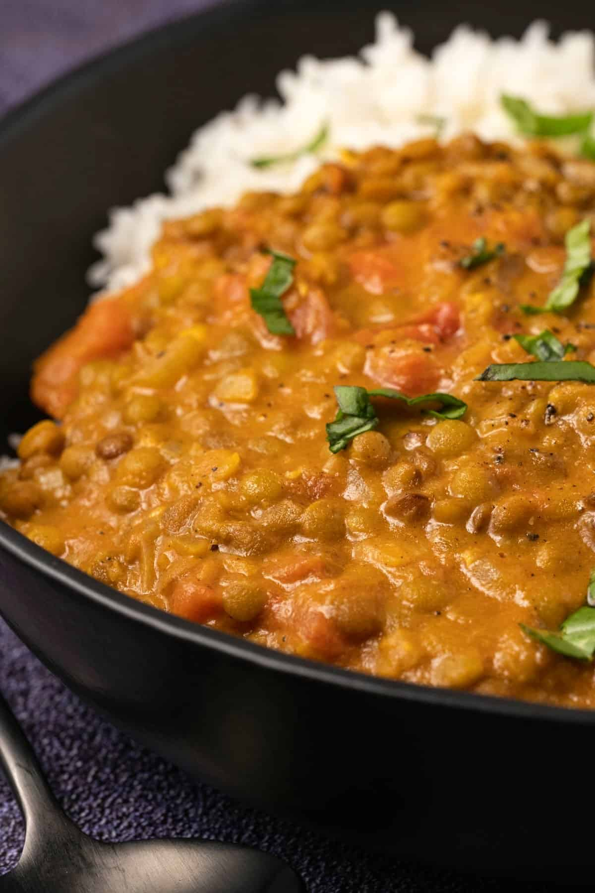 Lentil curry with rice and fresh basil in a black bowl.