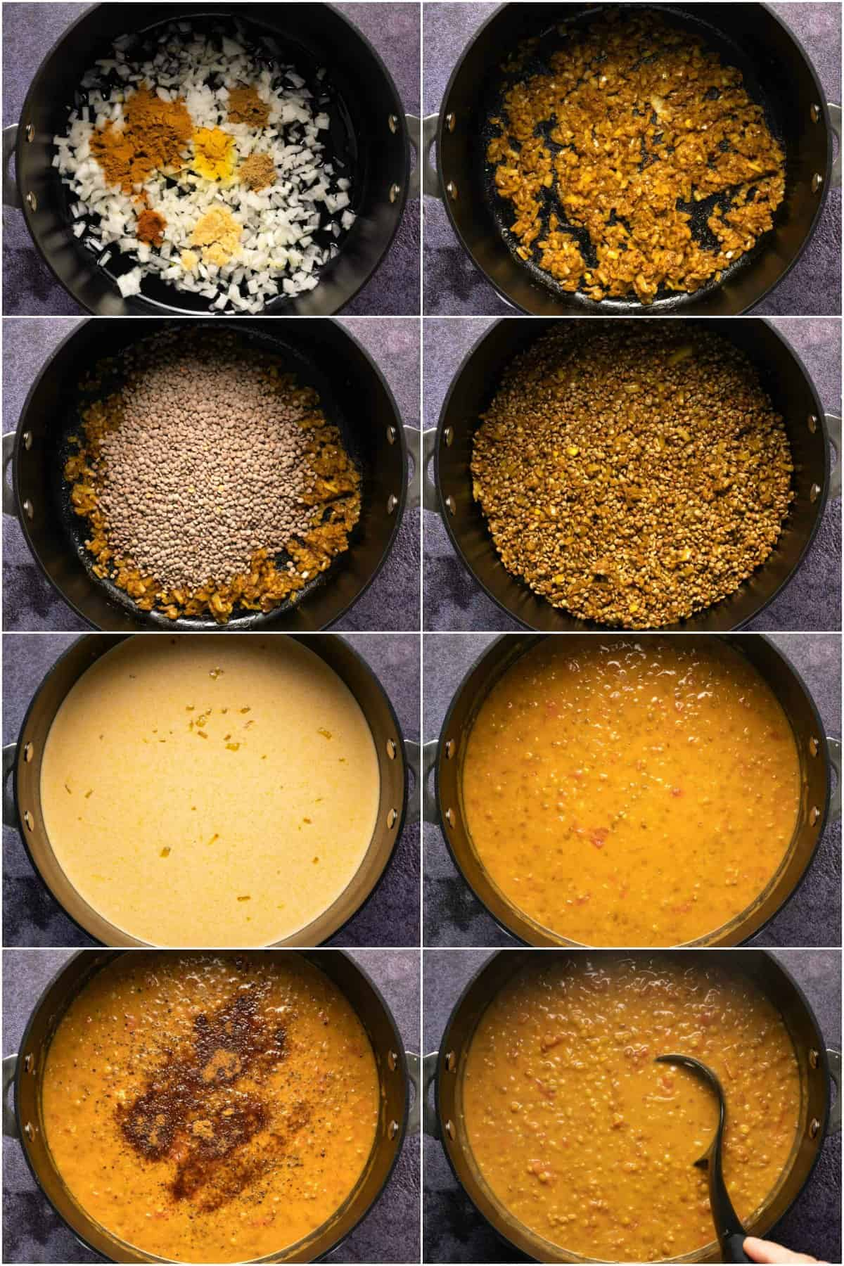 Step by step process photo collage of making lentil curry.