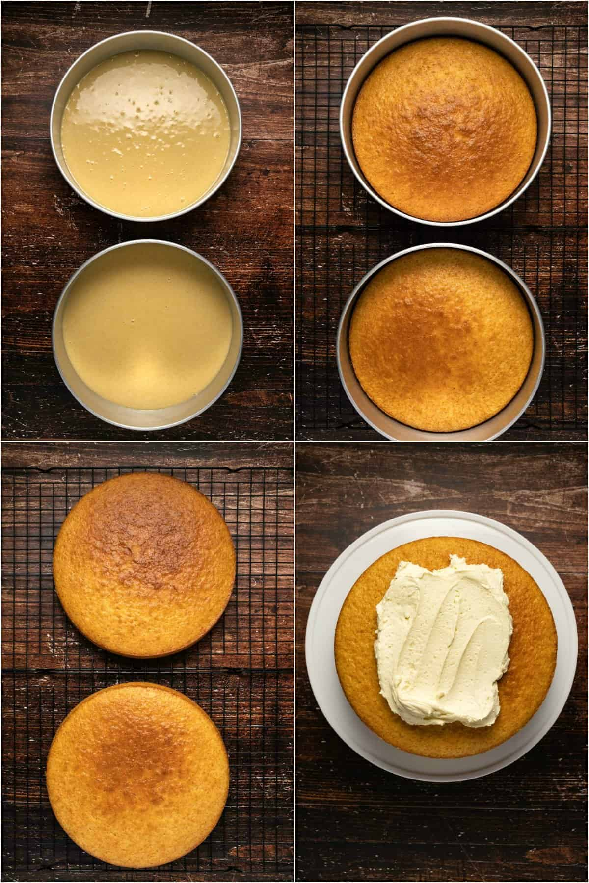Step by step process photo collage of making a vanilla cake.