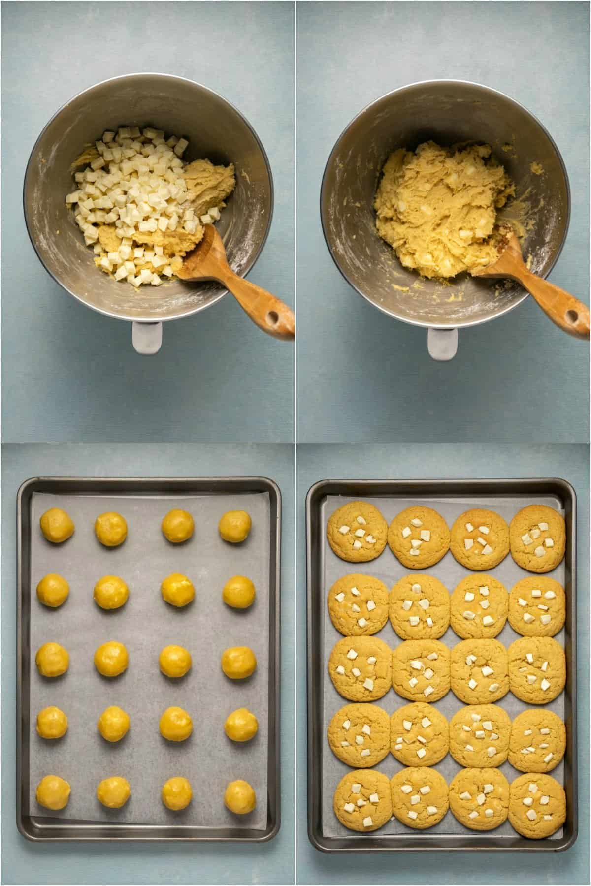 Step by step process photo collage of making white chocolate chip cookies.