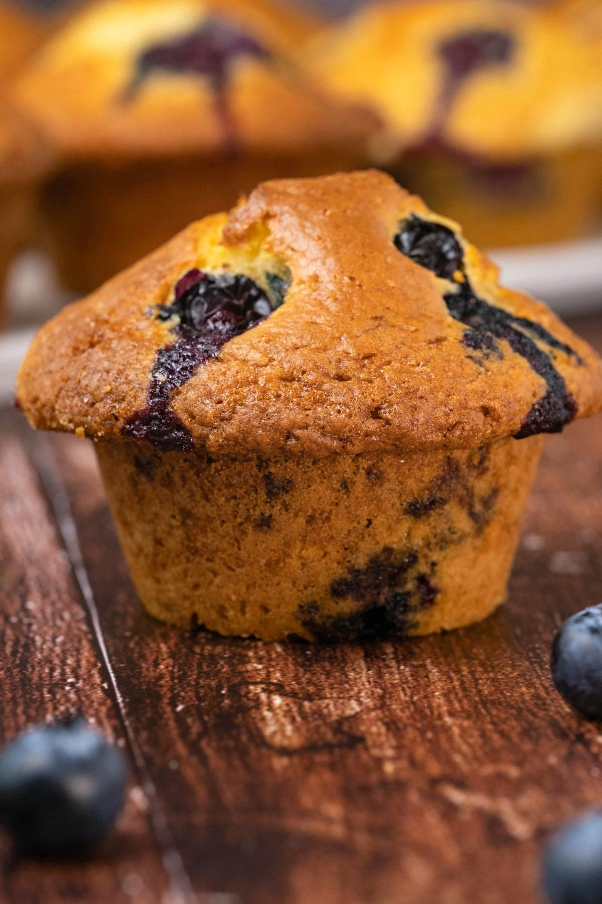 Blueberry muffin with fresh blueberries.