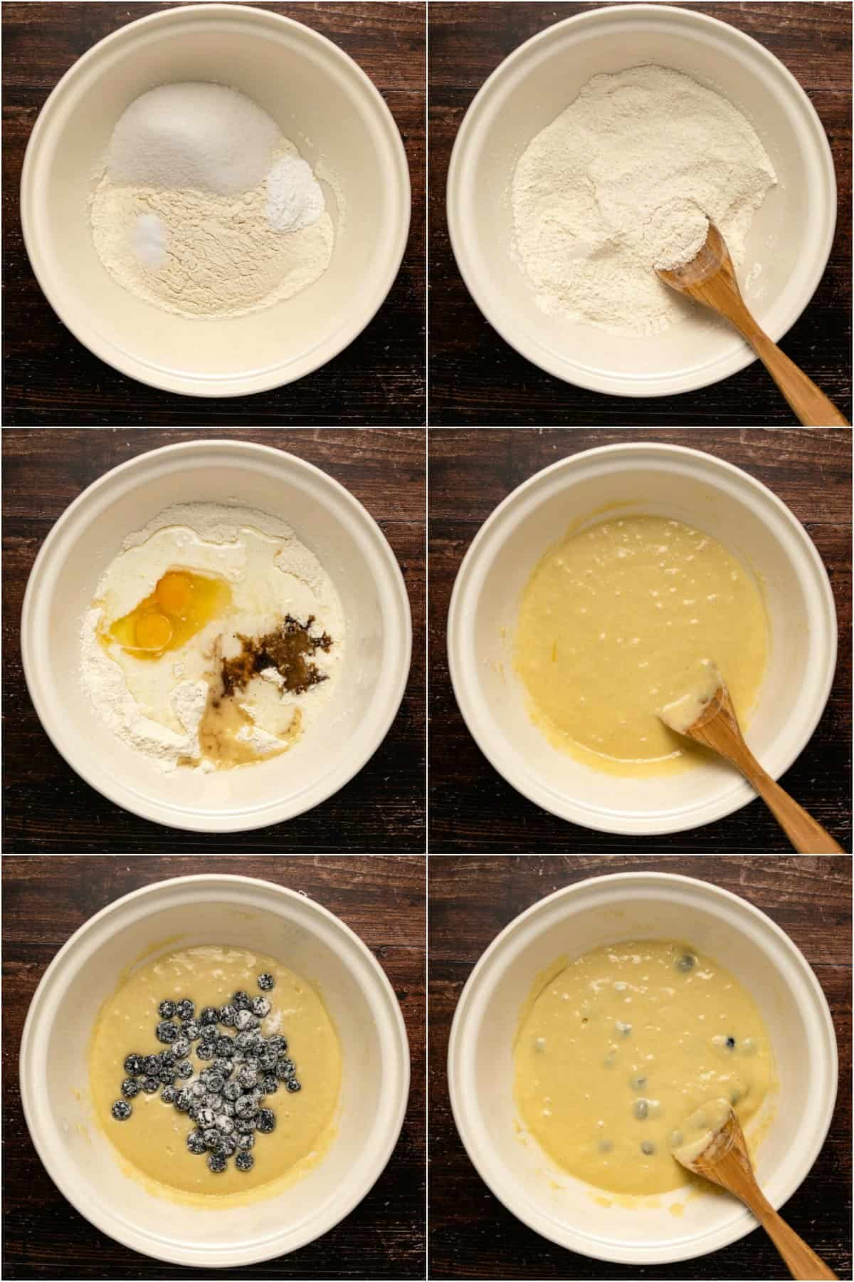 Step by step process photo collage of making the batter for blueberry muffins.