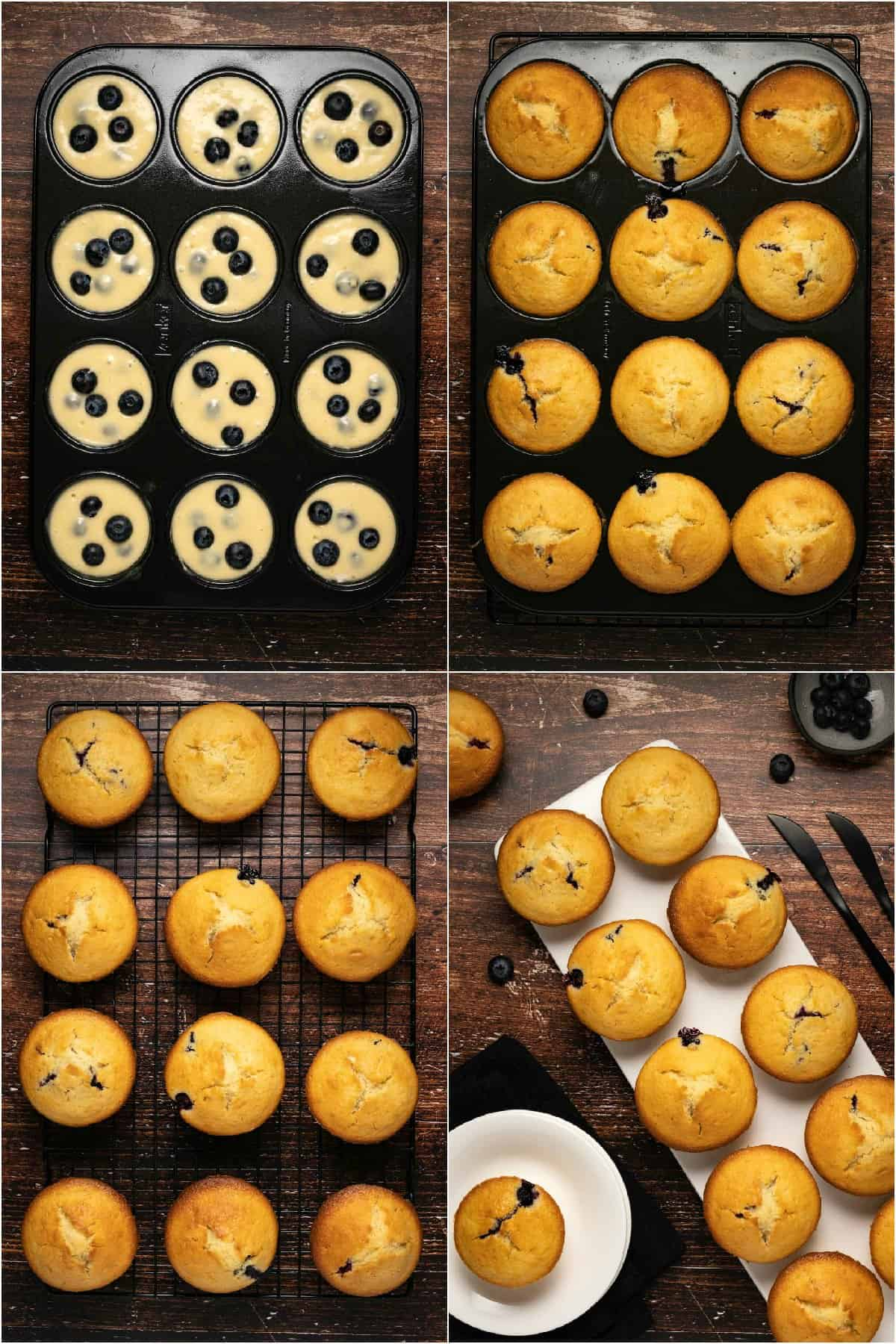 Step by step process photo collage of making blueberry muffins.