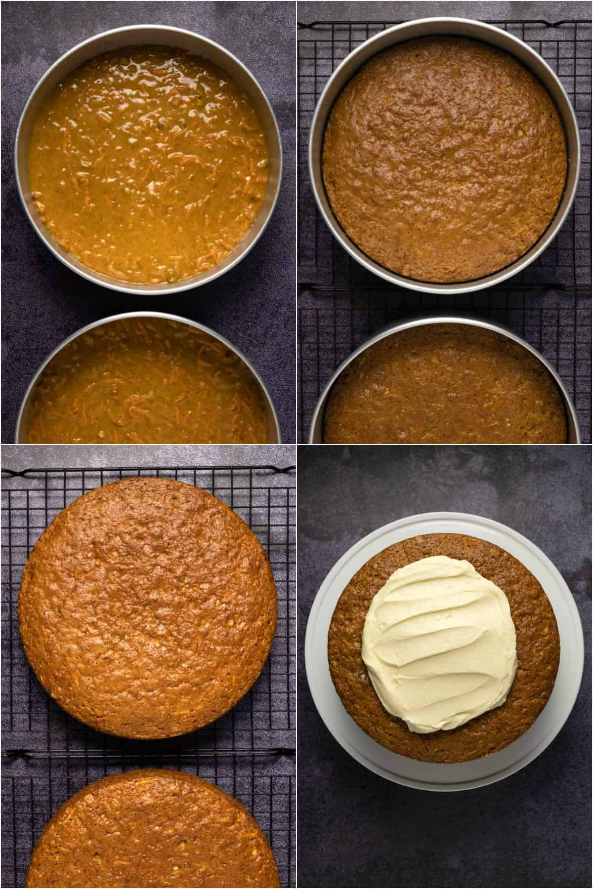 Step by step process photo collage of making carrot cake.