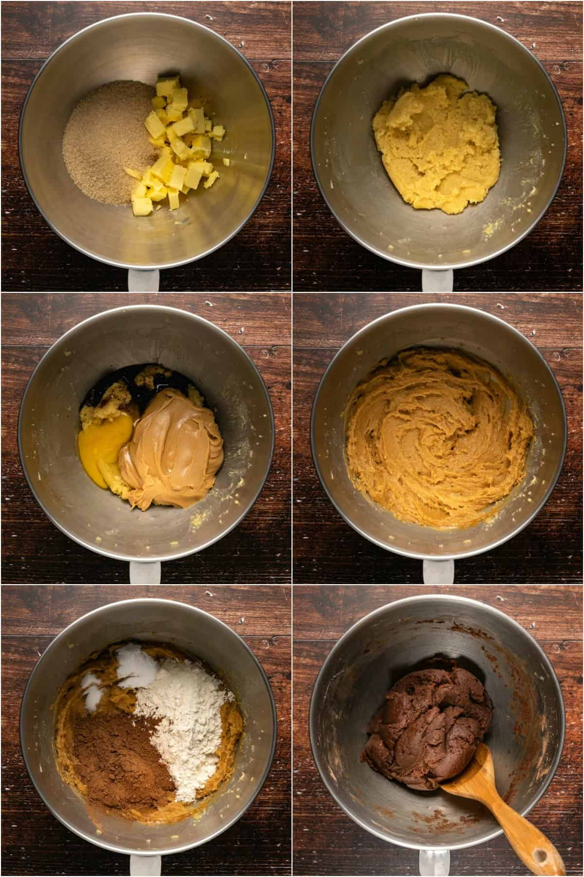 Step by step process photo collage of making cookie dough for chocolate peanut butter cookies.