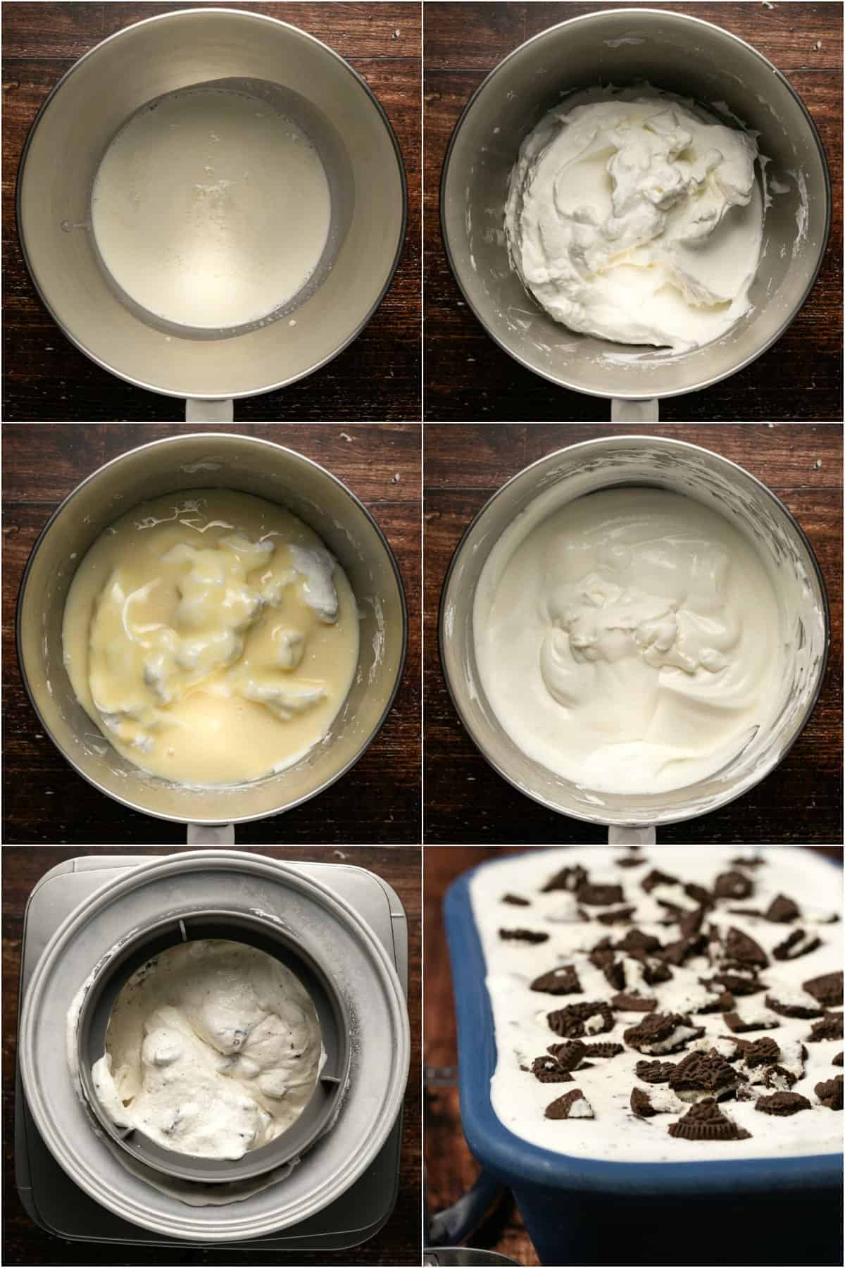 Step by step process photo collage of making a cookies and cream ice cream.