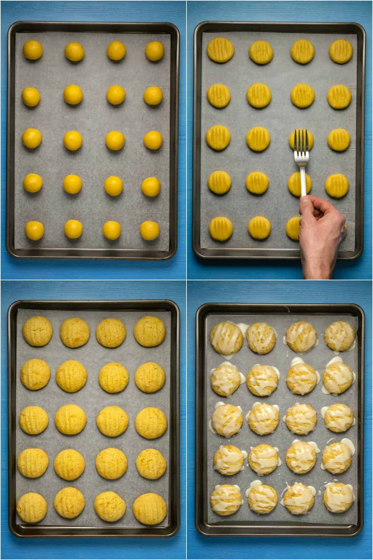 Step by step process photo collage of making lemon cookies.
