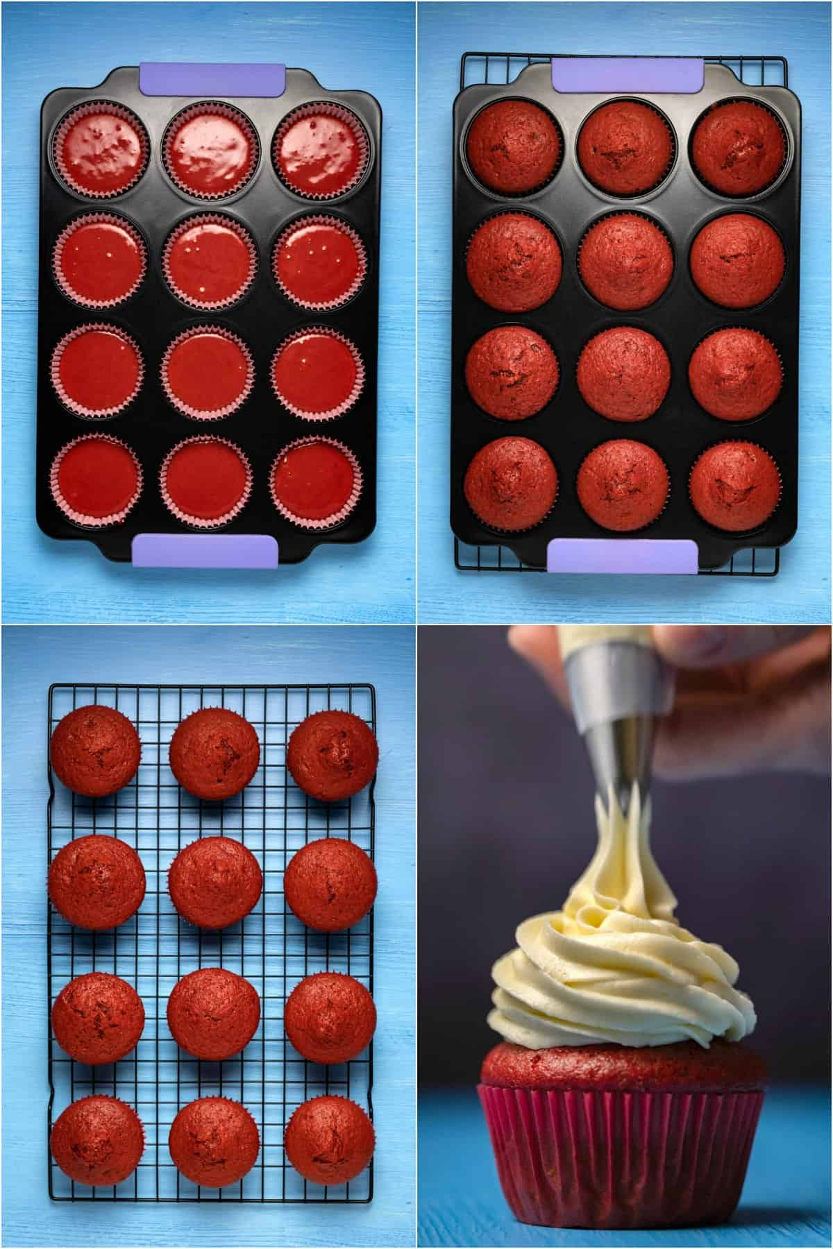 Step by step process photo collage of making red velvet cupcakes.