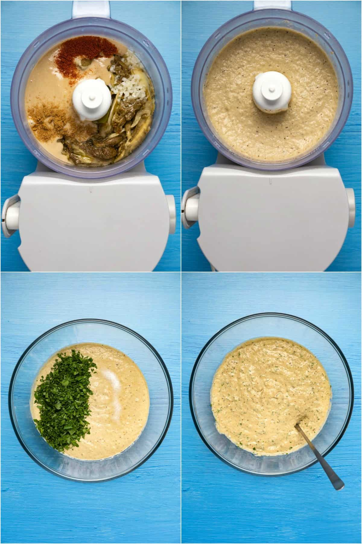 Step by step process photo collage of making baba ganoush.
