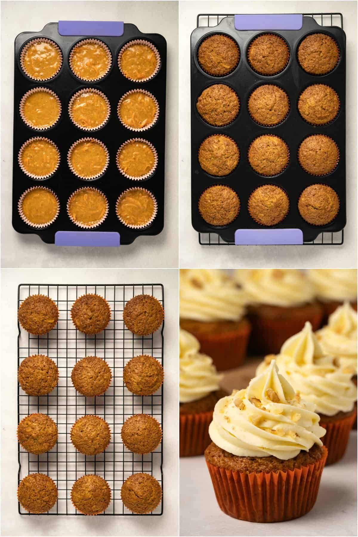 Step by step process photo collage of making carrot cake cupcakes.