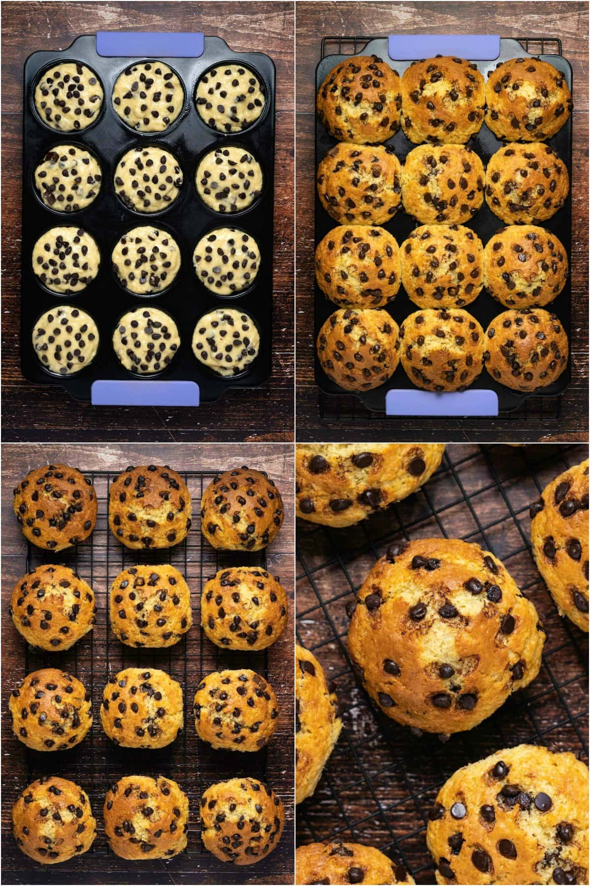 Step by step process photo collage of making chocolate chip muffins.