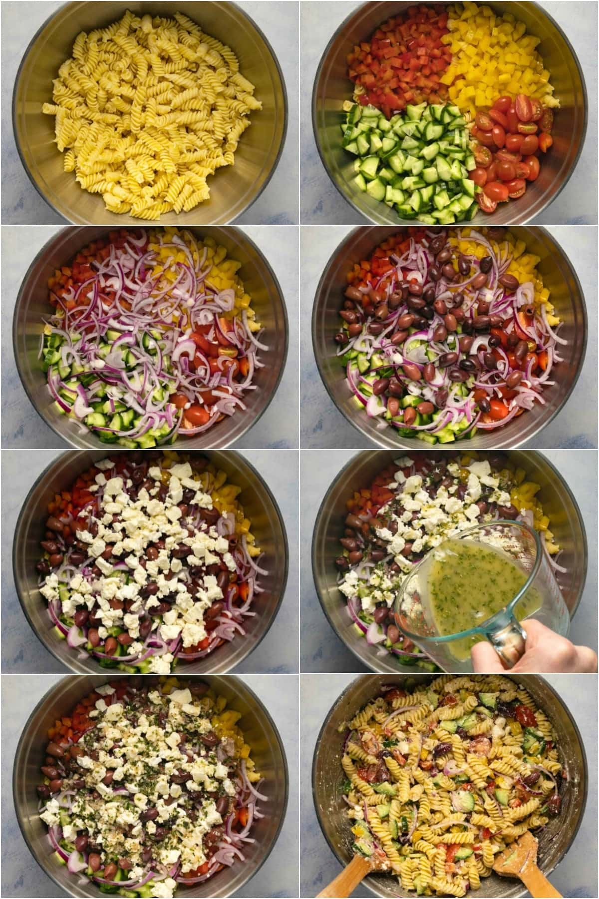 Step by step process photo collage of making Greek pasta salad.