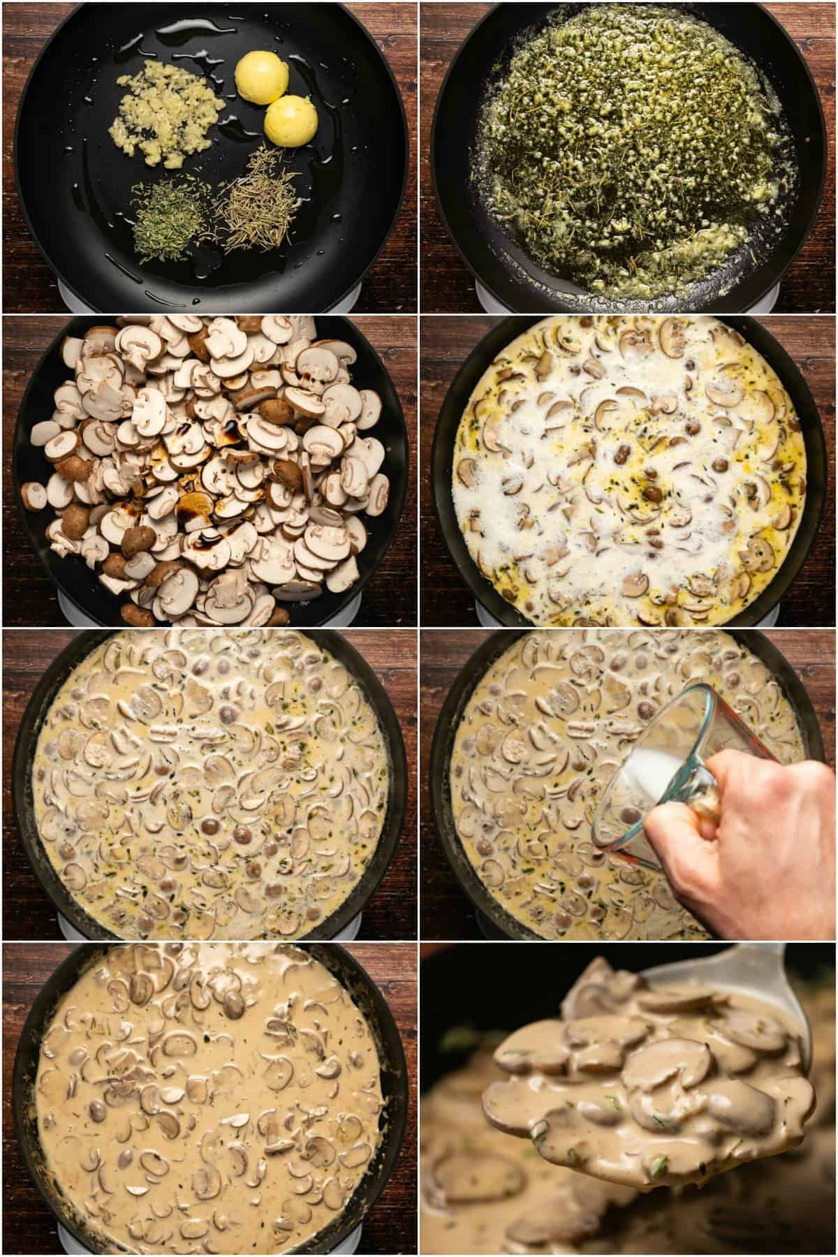 Step by step process photo collage of making mushroom sauce.