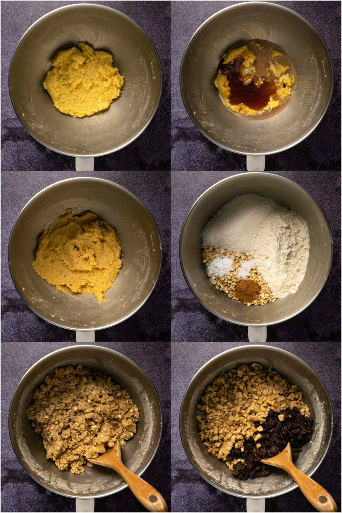 Step by step process photo collage of making the cookie dough for oatmeal raisin cookies.