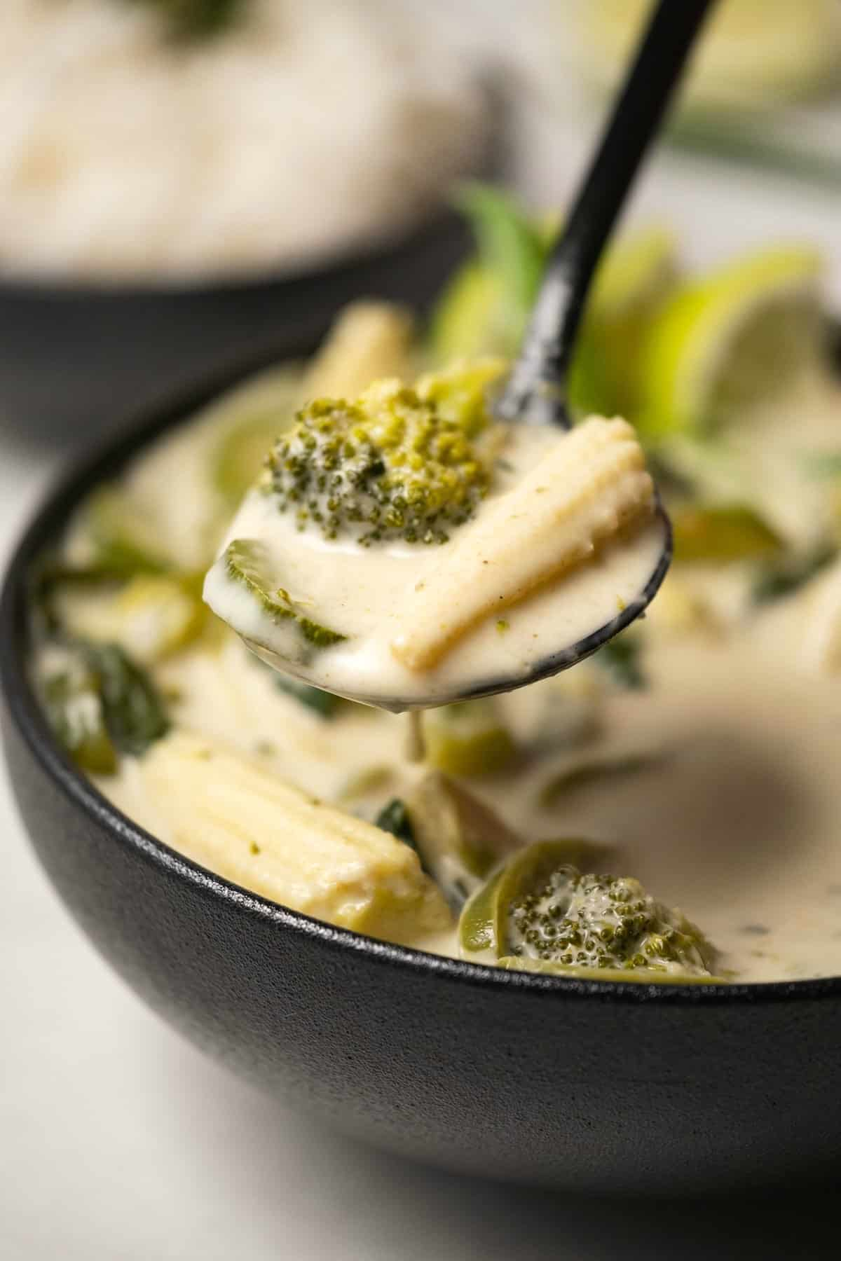 Spoonful of Thai green curry above a black bowl of curry.