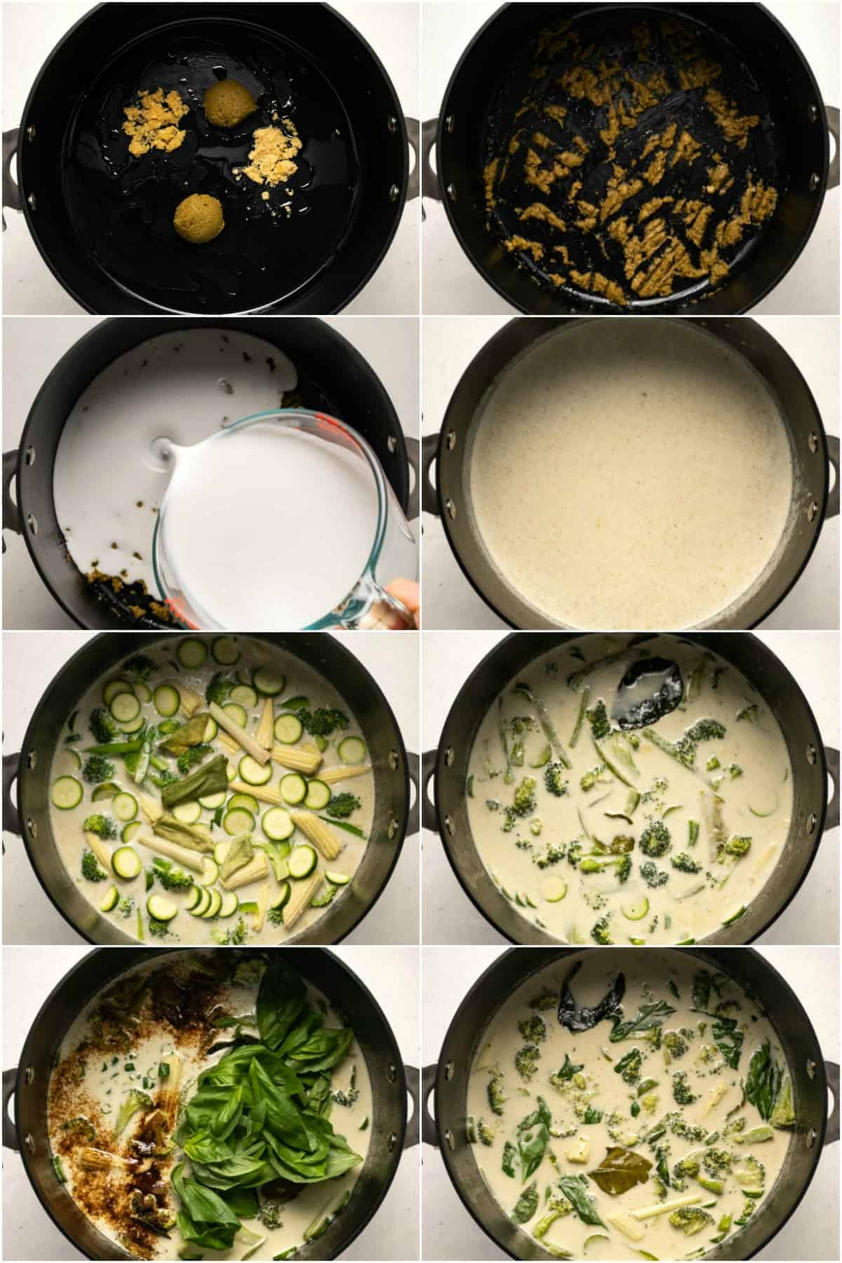 Step by step process photo collage of making a Thai green curry.
