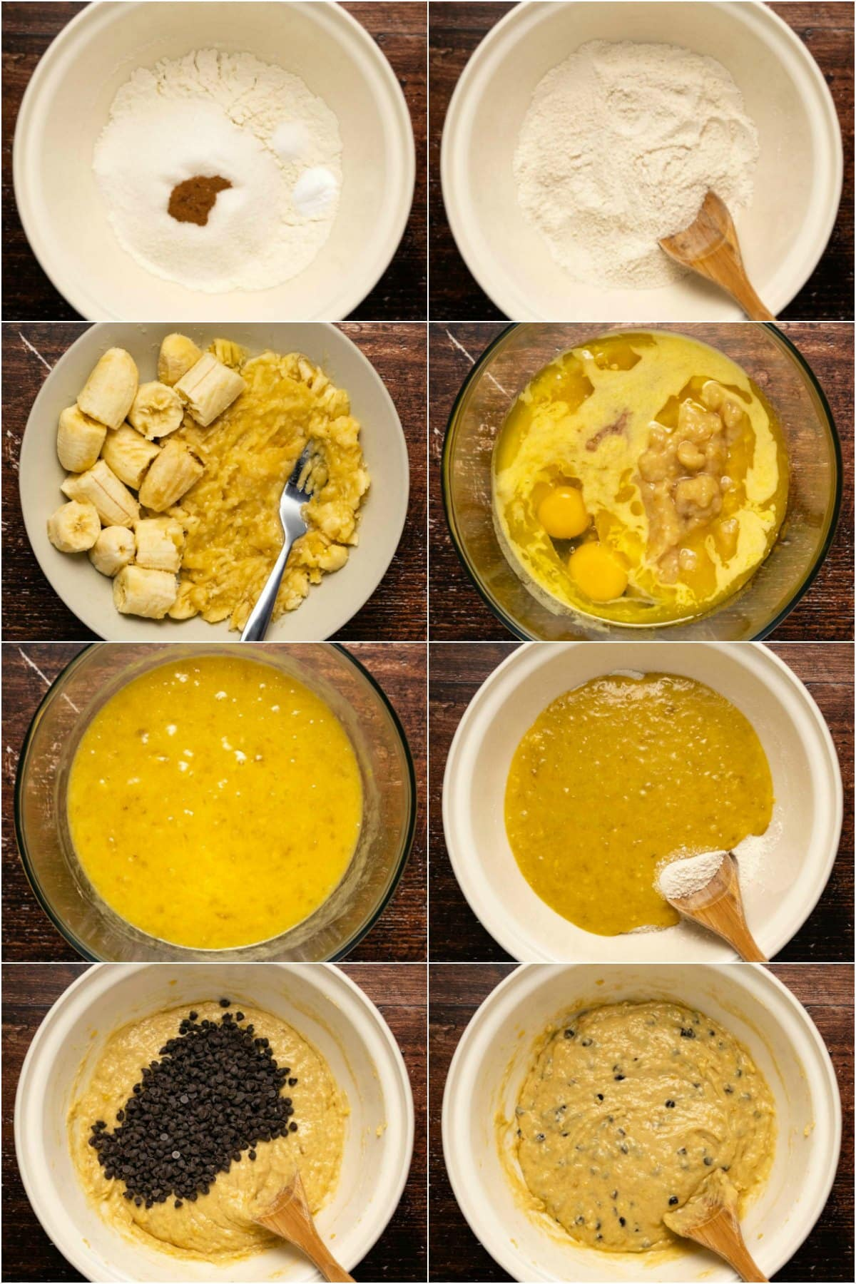 Step by step process photo collage of making the batter for chocolate chip banana bread.
