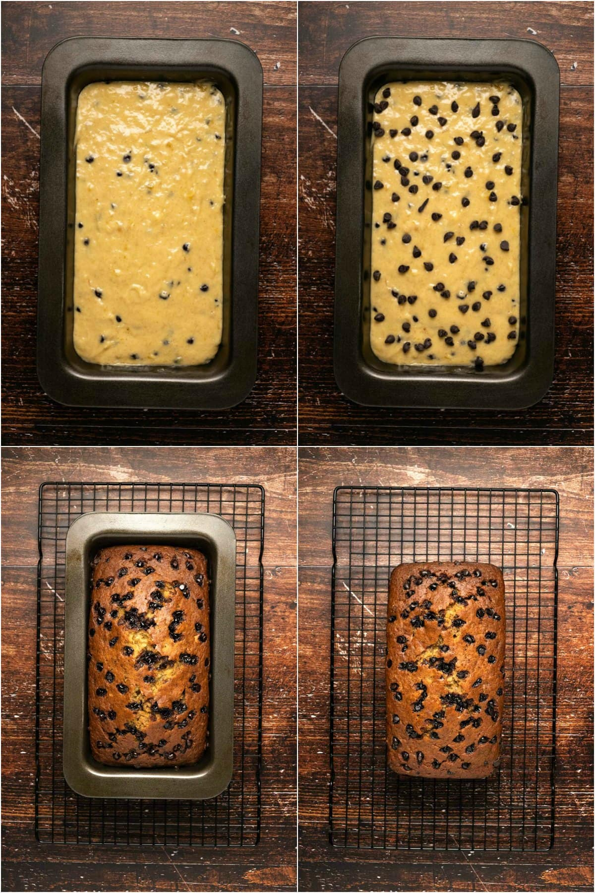 Step by step process photo collage of making chocolate chip banana bread.