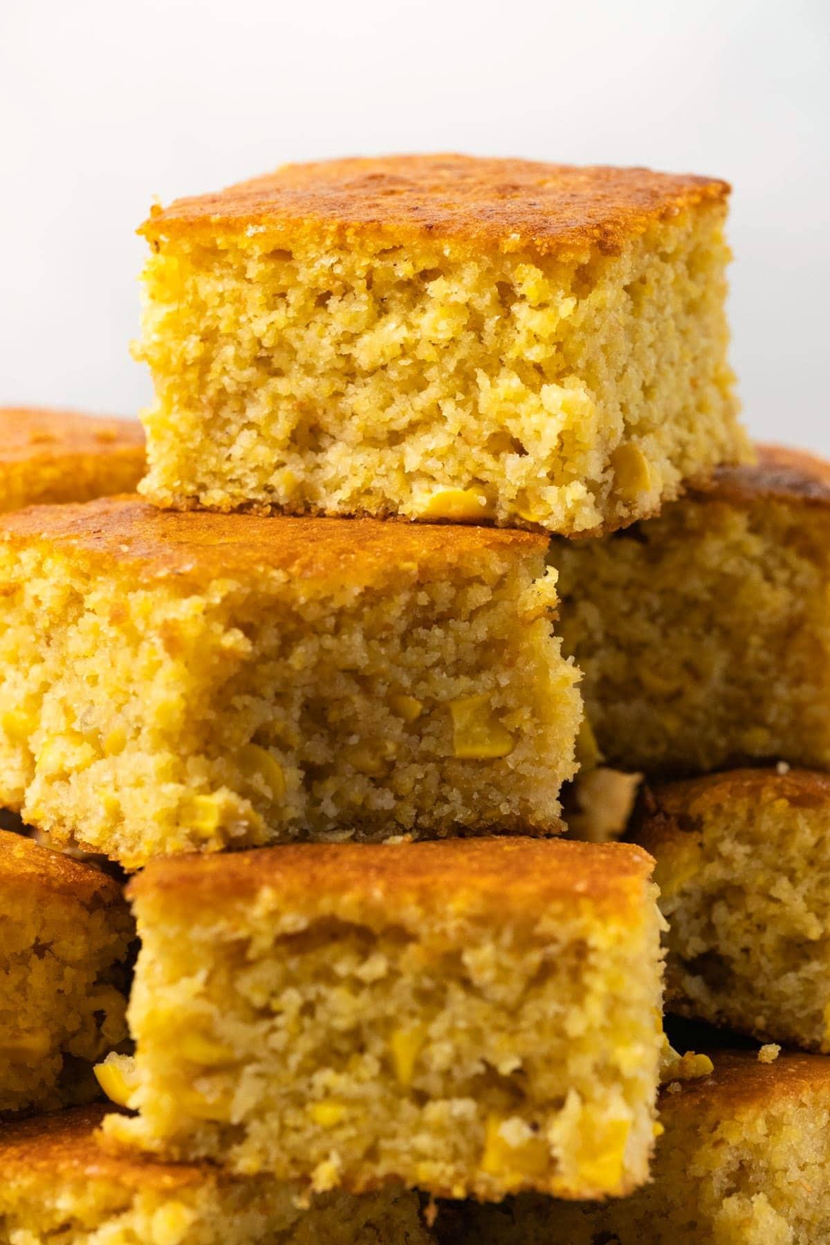 Cornbread in a stack.
