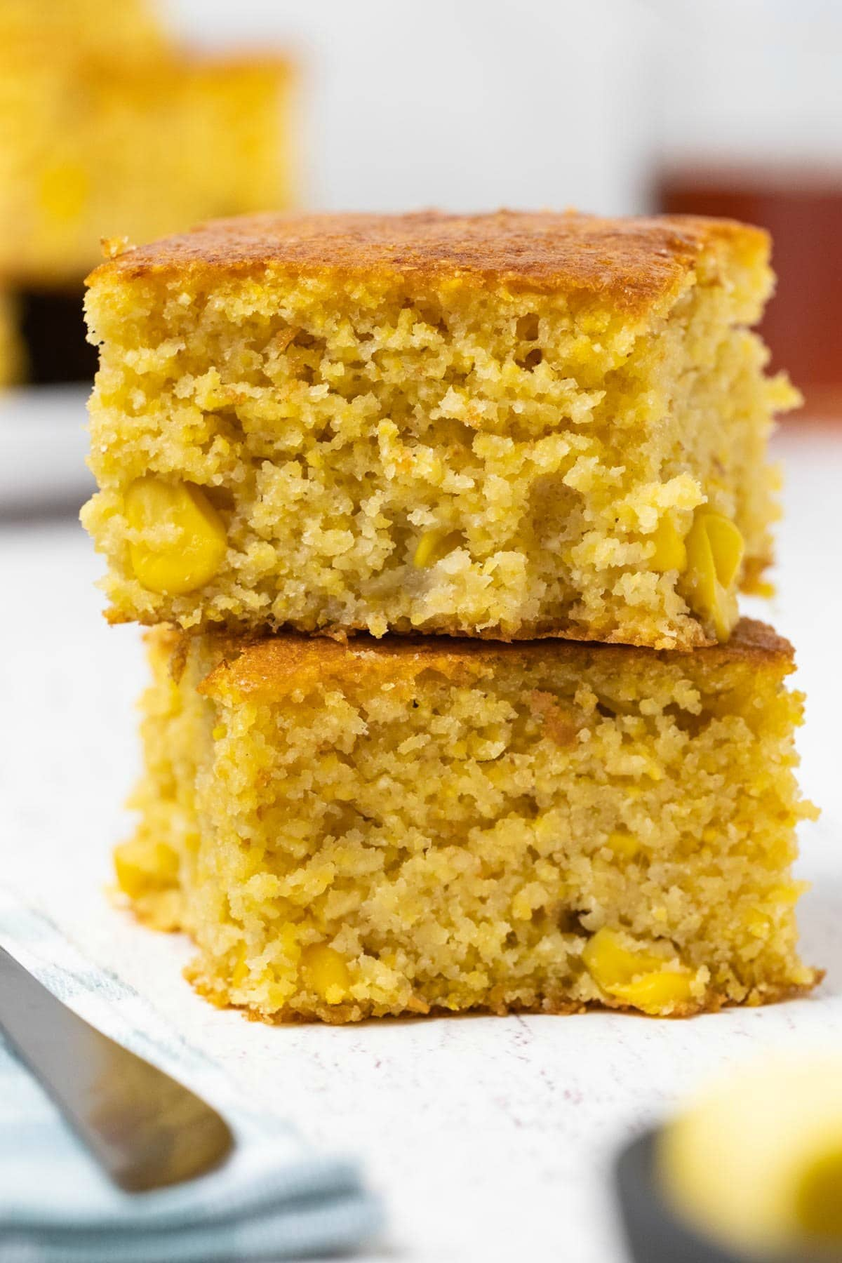 Cornbread squares in a stack.