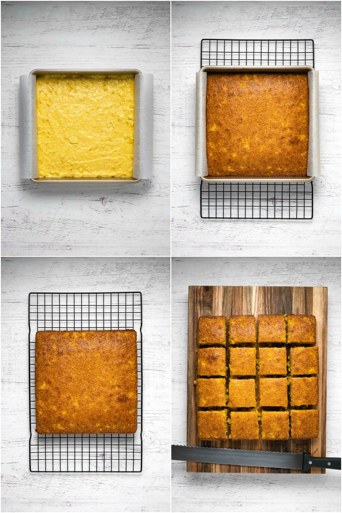 Step by step process photo collage of making cornbread.