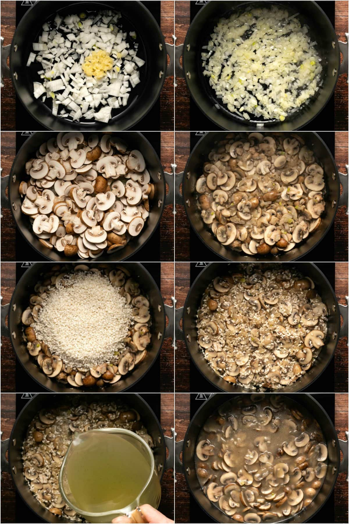 Step by step process photo collage of making mushroom risotto.