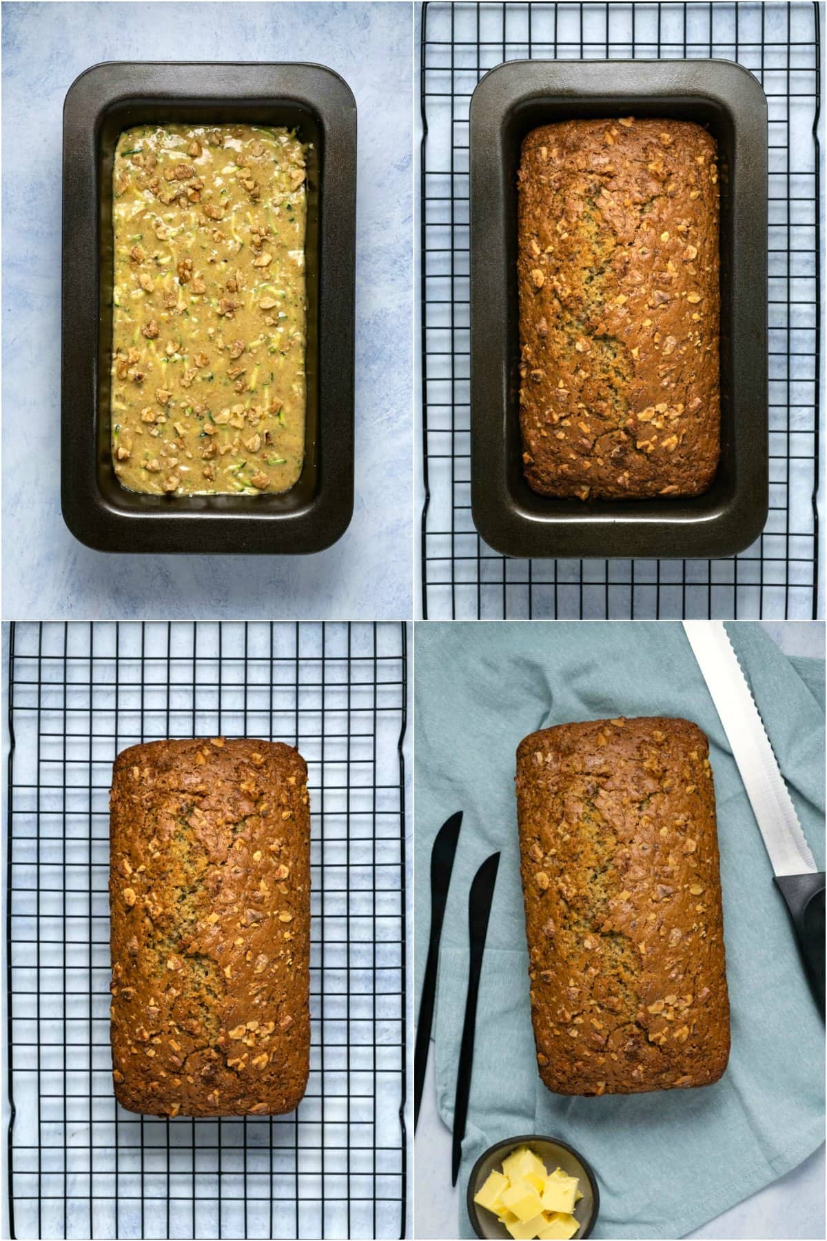 Step by step process photo collage of making zucchini bread.