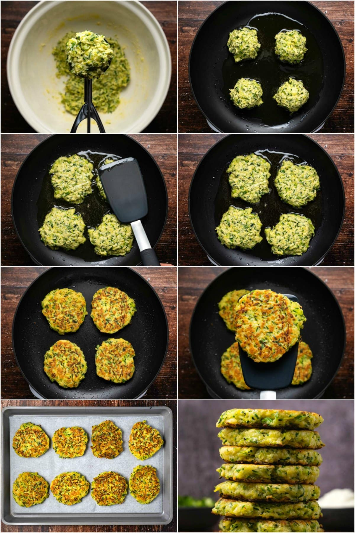Step by step process photo collage of making zucchini fritters.