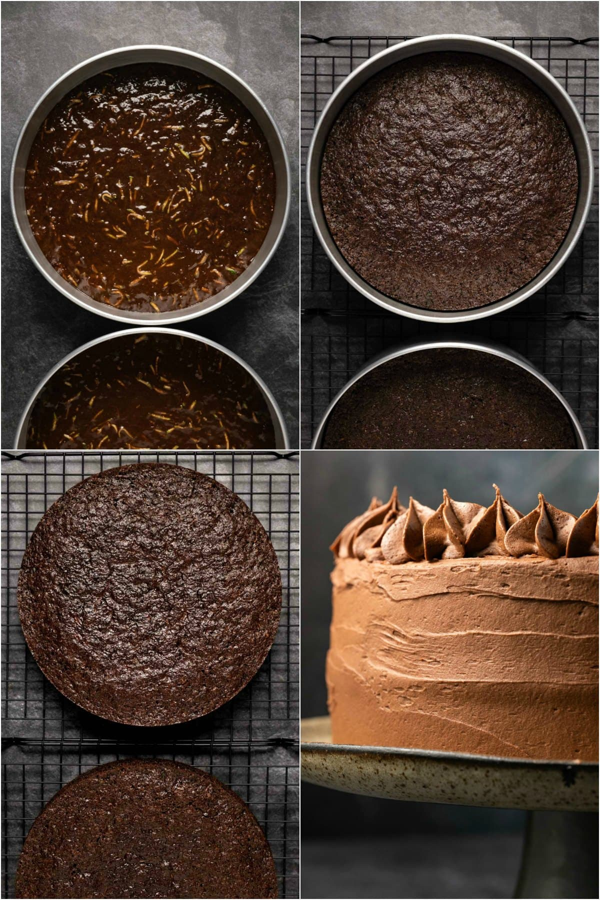 Step by step process photo collage of making a chocolate zucchini cake.
