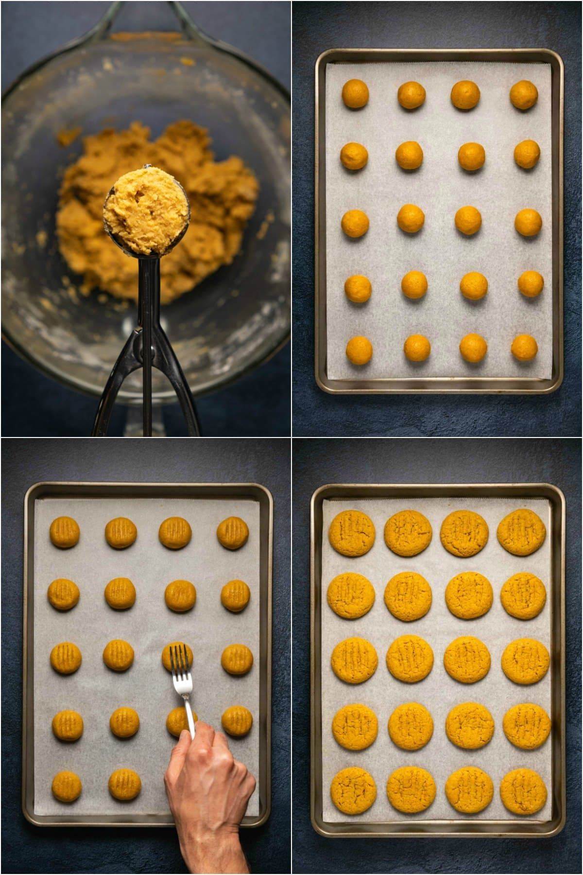 Step by step process photo collage of making pumpkin cookies.