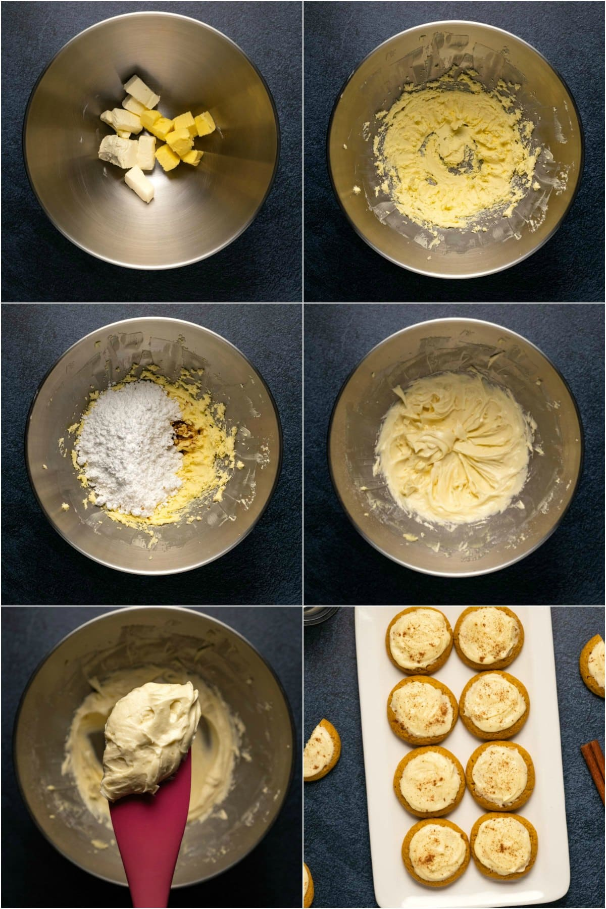 Step by step process photo collage of making cream cheese frosting for pumpkin cookies.