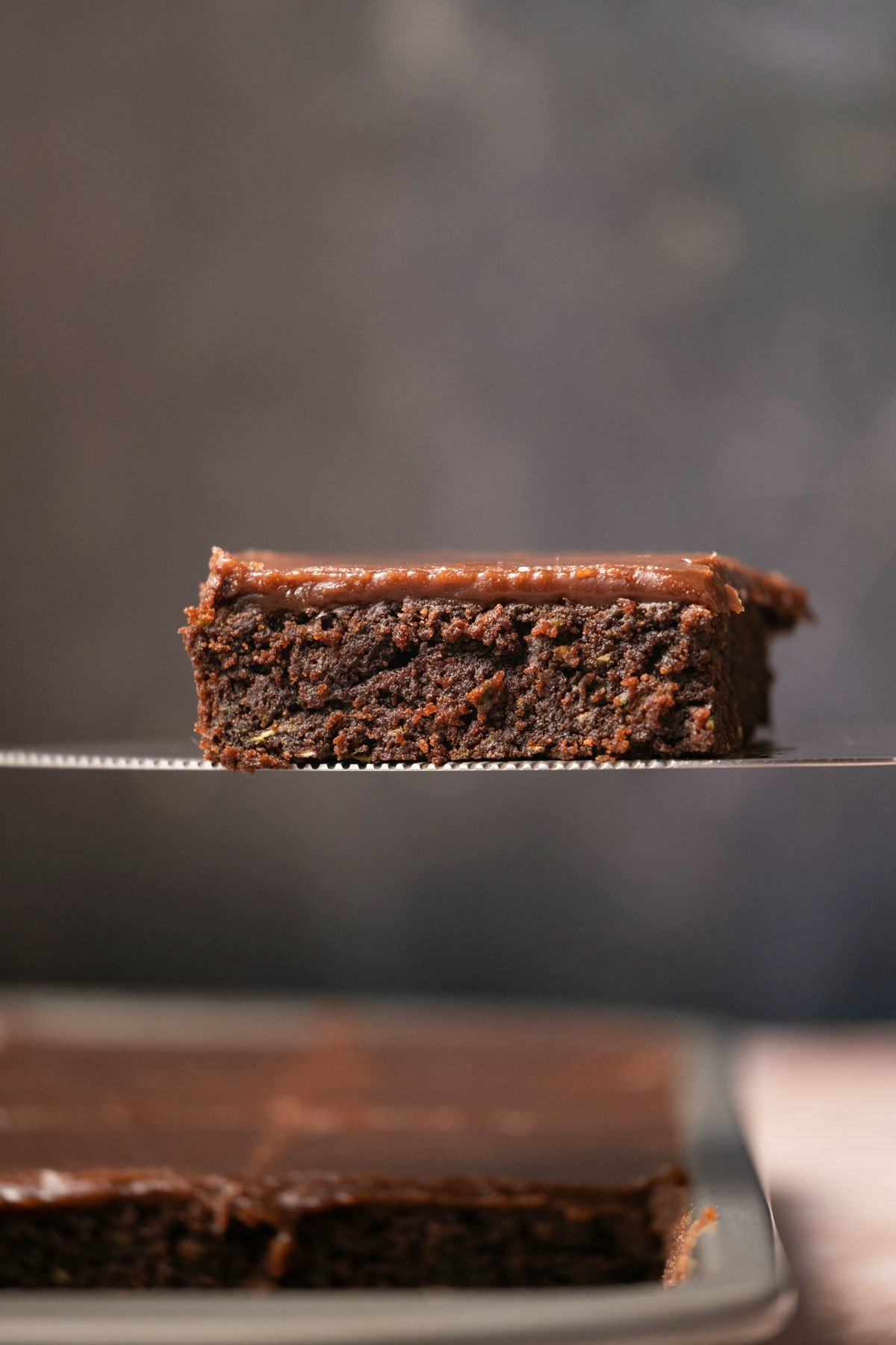 Brownie on a cake lifter.