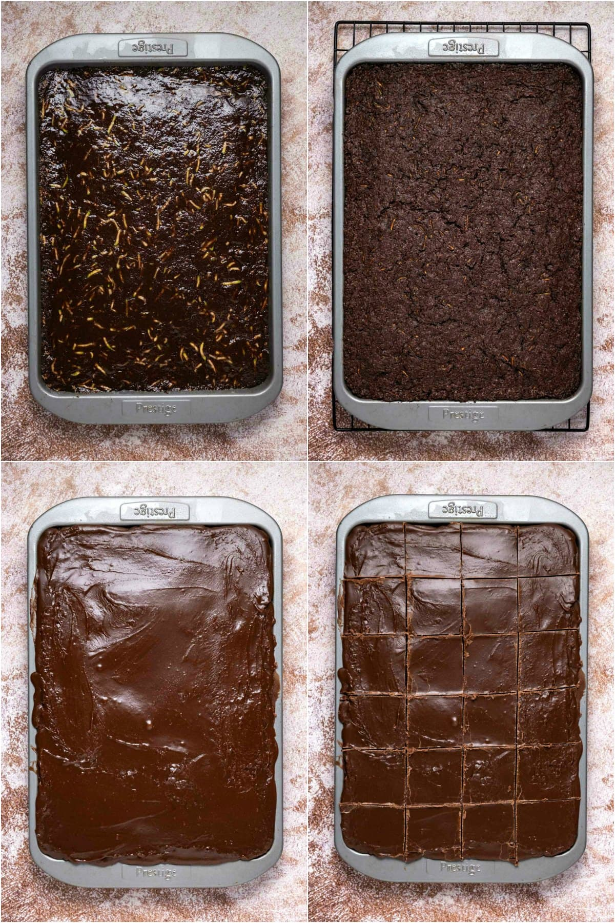 Step by step process photo collage of making zucchini brownies.