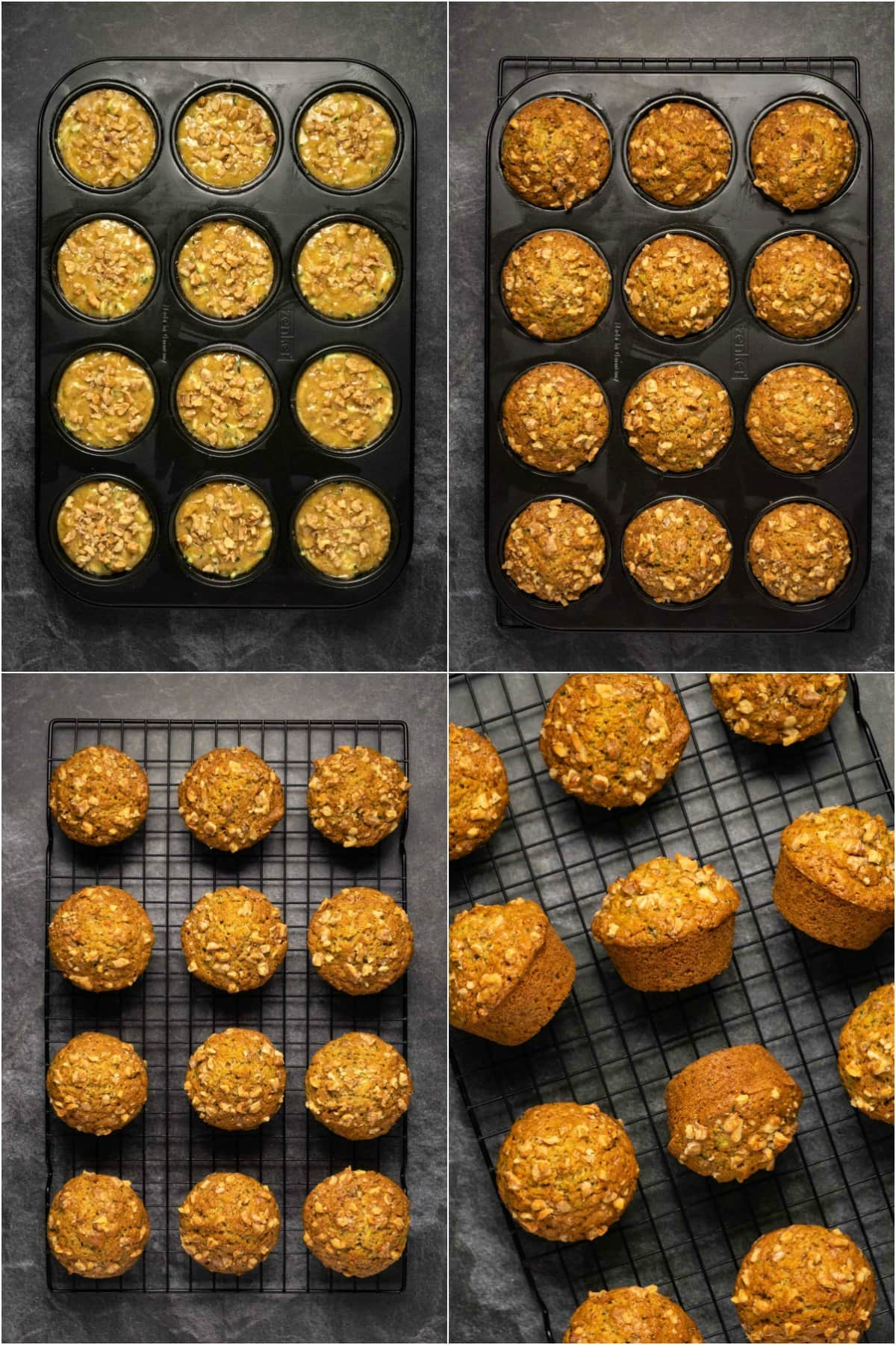 Step by step process photo collage of making zucchini muffins.