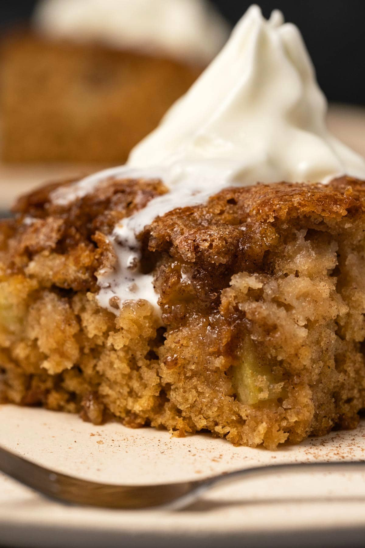 Apple cake slice topped with melting whipped cream.