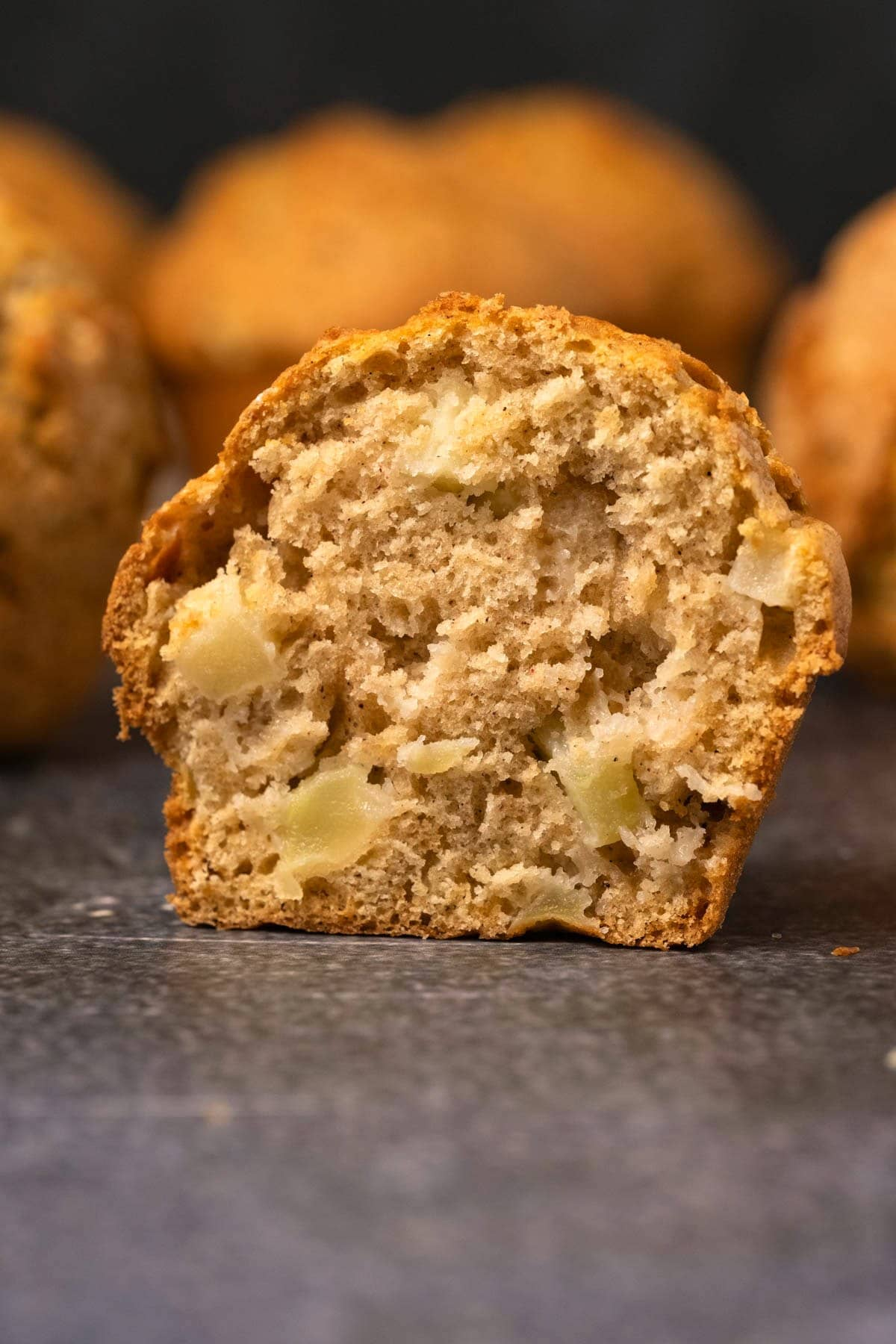Apple muffins cut in half.