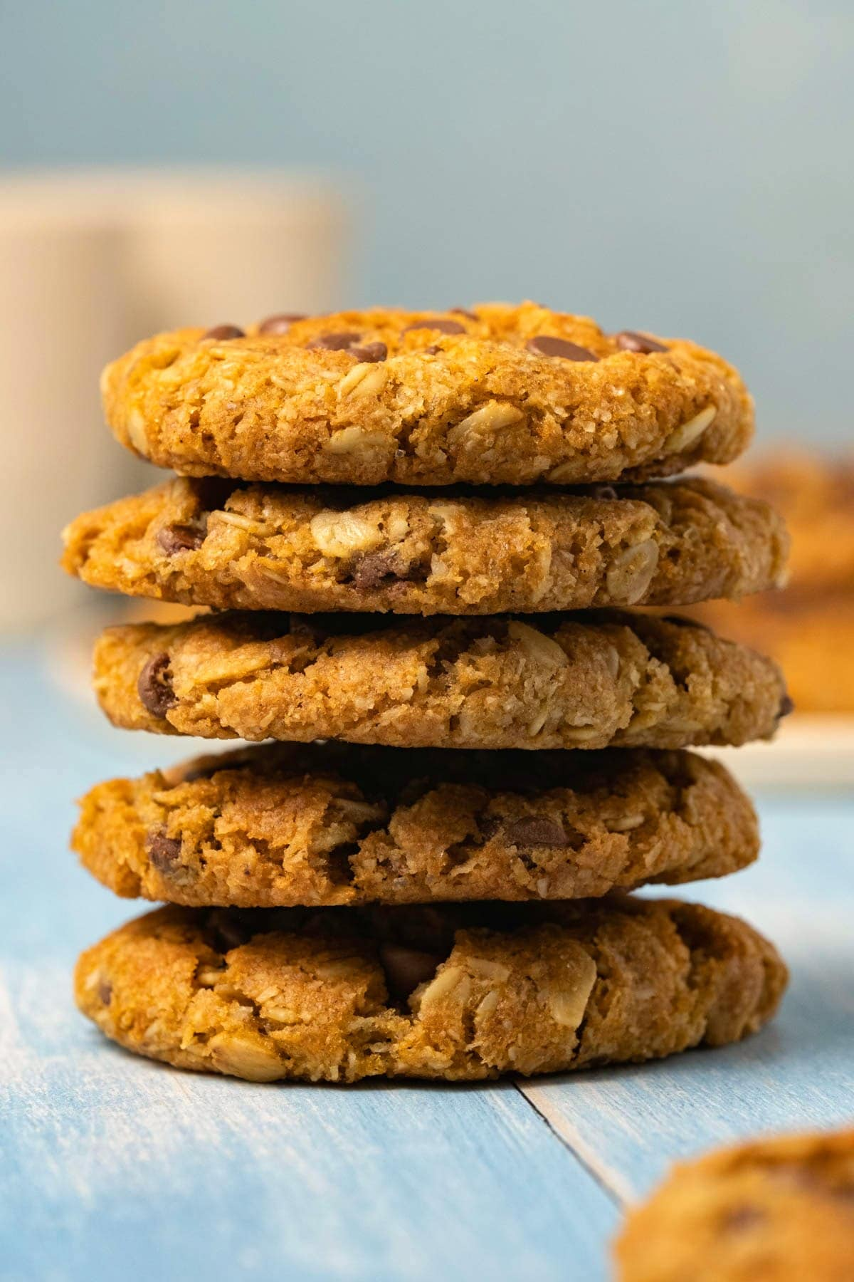 Oatmeal chocolate chip cookies in a stack.