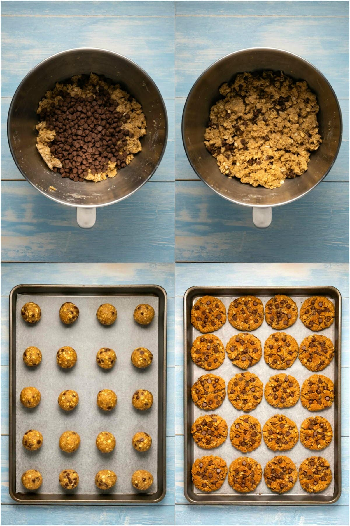 Step by step process photo collage of making oatmeal chocolate chip cookies.