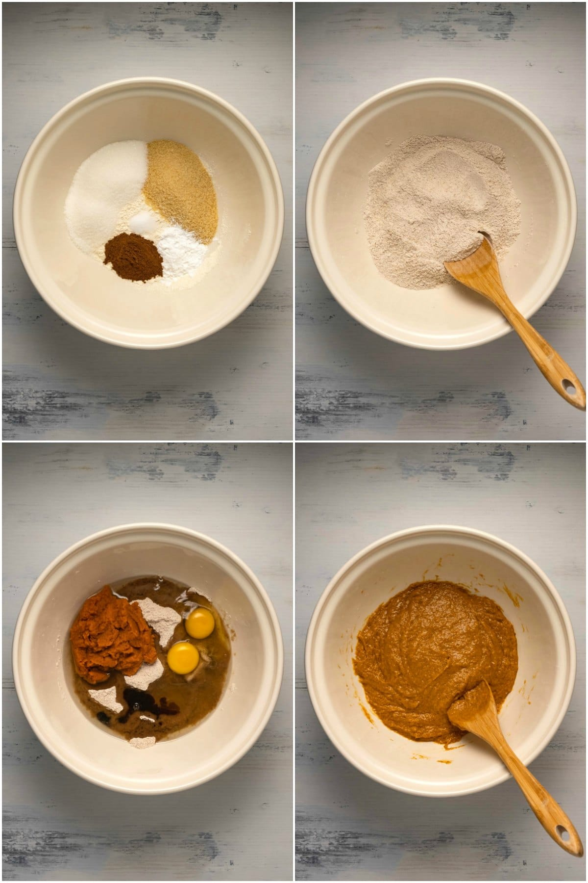 Step by step process photo collage of making the batter for pumpkin cupcakes.