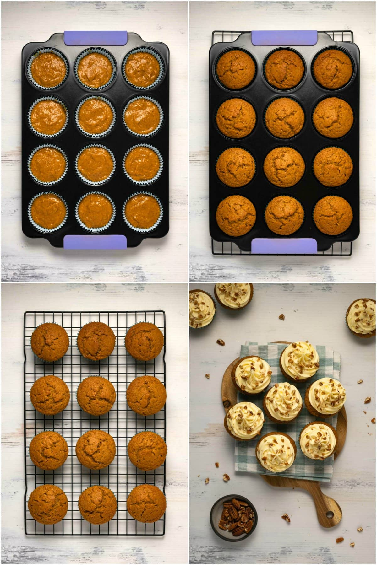 Step by step process photo collage of making pumpkin cupcakes.