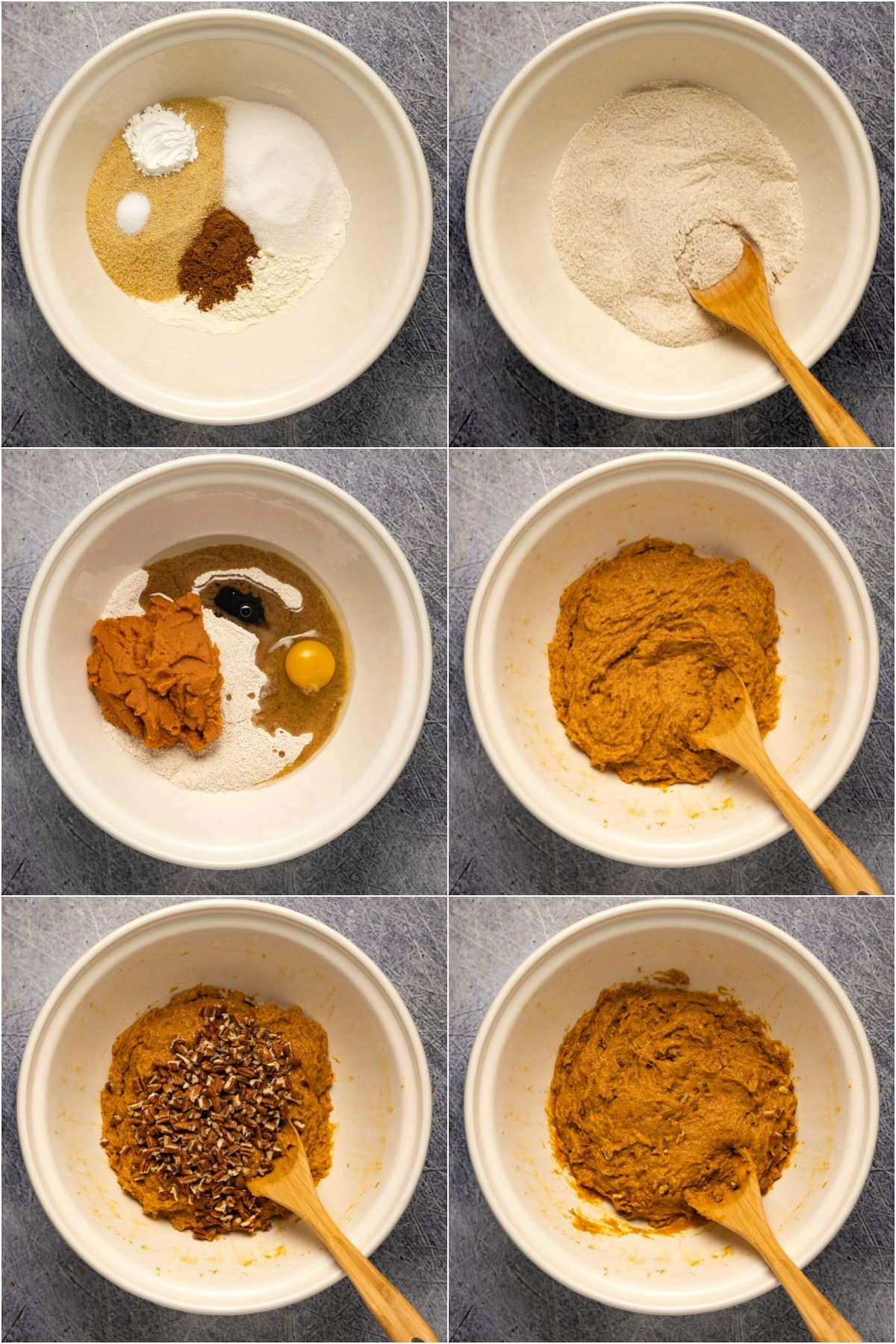 Step by step process photo collage of making the batter for pumpkin muffins.