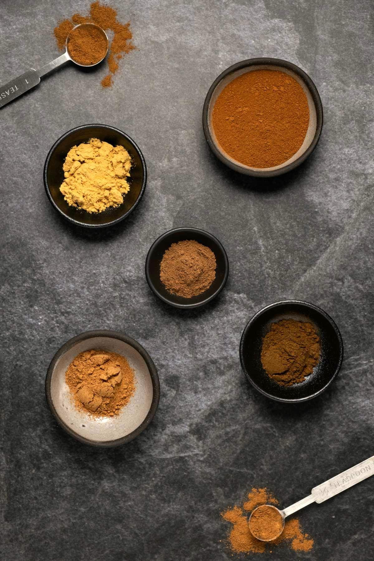Ingredients for making pumpkin spice.