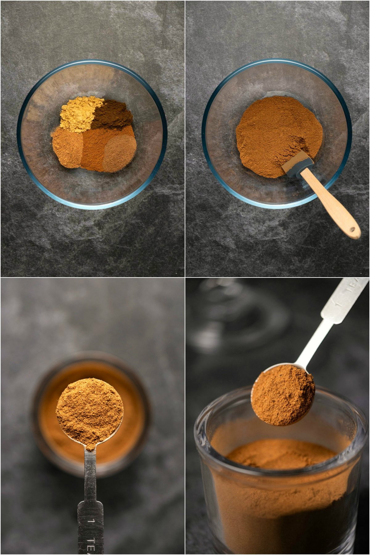 Step by step process photo collage of making homemade pumpkin pie spice.