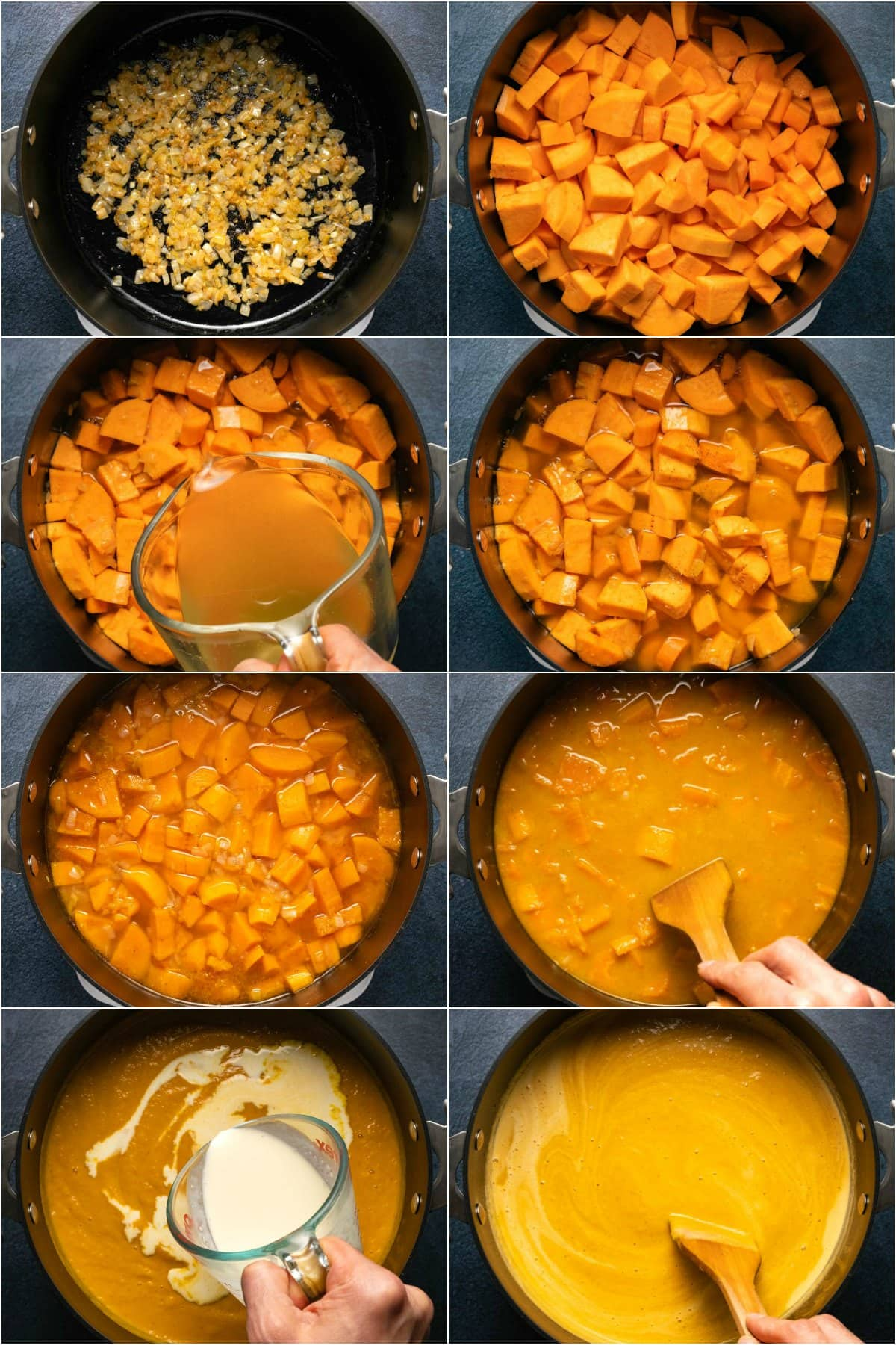 Step by step process photo collage of making sweet potato soup.